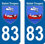 Lot de 2 stickers Ville de St Tropez