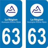 Lot de 2 stickers Auvergne Rhône Alpes  63 Puy de Dome