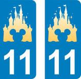 Lot de 4 stickers Château de Disney avec tête de Mickey et N° 11