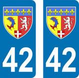 Lot de 2 Blasons Rhône Alpes 42 Loire