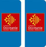 Lot de 2 stickers Logo Occitanie centré et sans N°