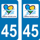 Lot de 2 stickers Centre Val de Loire 45 Loiret.