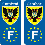 Lot de 2 stickers ville de Cambrai Europe