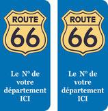Logo Route 66 couleur jaune n° au choix