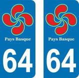 Lot de 2 adhésifs Aquitaine 64 pays Basque