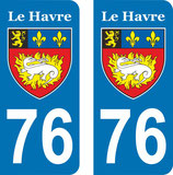 "Lot de 2 stickers ville "" Le Havre """