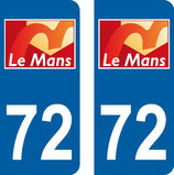 Lot de 2 stickers ville du Mans 72