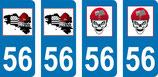 Lot de 2 stickers Bretagne bonnet rouge et 2 stickers tête de mort bonnet rouge N° 56