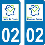 Lot de 2 stickers Haut de France 02 Aisne