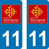 Lot de 2 adhésifs Occitanie Languedoc Roussillon 11 Aude