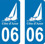Lot de 2 stickers Côte d'Azur 06