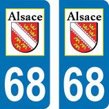 Lot de 2 adhésifs Alsace 68 Haut Rhin