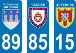 Lot de 3 paires de stickers en 110 mm Blason de Villeneuve sur Yonne , Vendée, Auvergne
