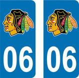 Lot de 2 stickers Blackhawks avec N° 06