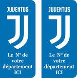 lot de 2 stickers nouveau logo Juventus  avec n° au choix et fond de couleur au choix bleu ou noir