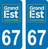 lot de 2 adhésifs GRAND EST Alsace 67 Bas Rhin