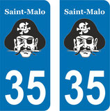 Lot de 2 stickers Pirate et n° 35 St Malo
