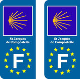 Lot de 2 stickers St jacques de Compostelle Europe