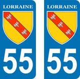 Lot de 2 Blasons Lorraine 55 Meuse