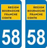 Lot de 2 adhésifs nouveau logo Bourgogne Franche comté 58 Niévre