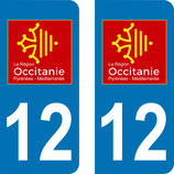 Lot de 2 adhésifs Occitanie Midi Pyrénées 12 Aveyron