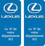 Lot de 2 stickers adhésif LEXUS N° au choix