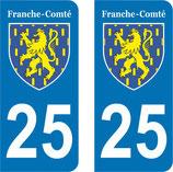 Lot de 2 Blasons Franche Comté 25 Doubs