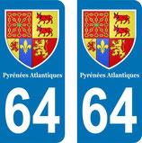 Lot de 2 Blasons Aquitaine 64 Pyrénées Atlantiques
