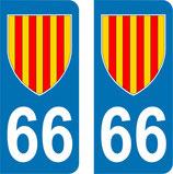Lot de 2 adhésifs Languedoc Roussillon 66 Blason Catalan