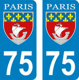 Lot de 2 stickers ville de Paris