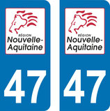 Lot de 2 stickers Nouvelle Aquitaine n° 47 Lot et Garonne