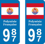 Lot de 2 stickers drapeau Polynésie Française
