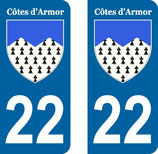 Lot de 2 stickers armoiries des Côtes d'Armor