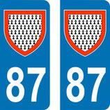 Lot de 2 Blasons Limousin 87 Haute Vienne