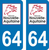 Lot de 2 stickers Nouvelle Aquitaine n° 64