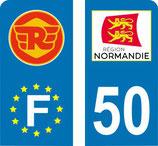 Lot de 2 stickers moto logo Royal Endfield avec Normandie et N°50