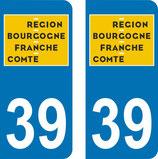 lot de 2 adhésifs nouveau logo Bourgogne Franche Comté 39 Jura
