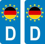 lot de 2 stickers Pays d'Europe  Allemagne
