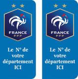 """Lot de 2 stickers """"FFF"""" nouveau logo 2 étoiles N° de départ au choix"""