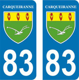 Lot de 2 stickers ville de Carqueiranne n° 83
