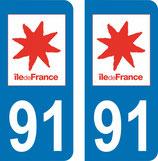 Lot de 2 adhésifs Ile de France 91 Essonne