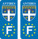 Lot de 2 stickers de la ville d'Antibes Europe
