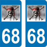 Lot de 2 stickers Pirate et N° 68