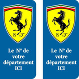 Lot de 2 stickers Ferrari ovale n° au choix