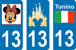 Lot de 2 stickers de chaque maquette Minnie , Disney et Tonino avec N° 13