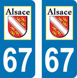 lot de 2 adhésifs Alsace 67 Bas Rhin