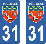 Lot de 2 stickers de la ville de Toulouse