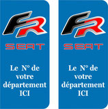 Lot de 2 stickers Seat FR  N° au choix
