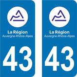 Lot de 2 stickers Auvergne Rhône Alpes 43 Haute Loire