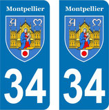Lot de 2 stickers Armoiries de Montpellier N° 34